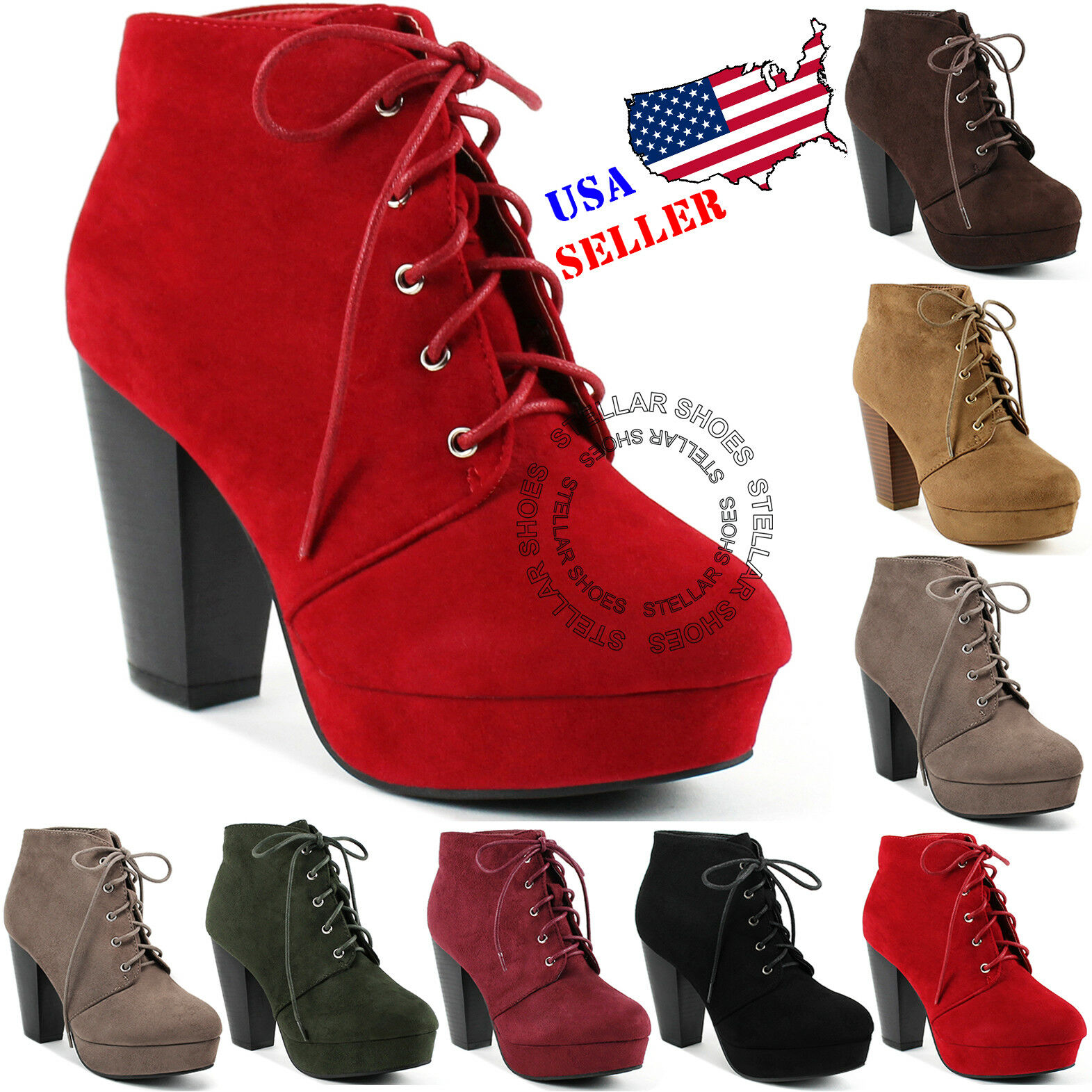 Baylor Stacked Heel Lace up BOOTIES