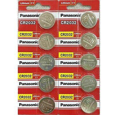 10 x SUPER FRESH Panasonic CR2032 CR 2032 Lithium Battery 3V Coin Cell Exp. 2030