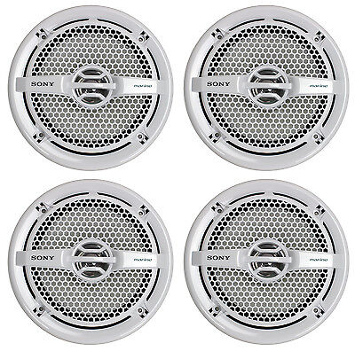 """4) Sony XS-MP1611 6.5"""" 280 Watt Dual Cone Marine Speakers Stereo White XSMP1611"""