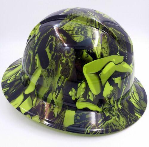 Hard Hat FULL BRIM custom hydro dipped , OSHA approved LIME