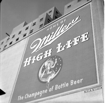 Vintage Black & White 1950's Millers Beer Advertisement On Brick Wall #1391