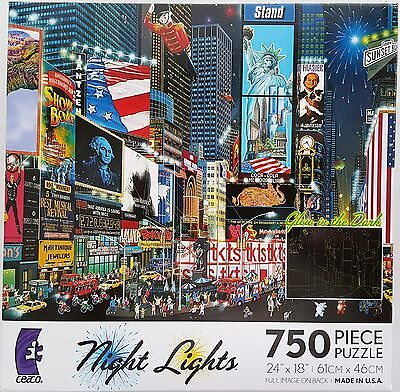 CEACO® 750pc NIGHT LIGHTS • TIMES SQUARE PARADE • PUZZLES Jig Saw USA - Puzzles Usa