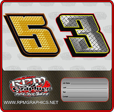 Racing Go Kart Chiseled Number Package Sticker Graphics Lettering