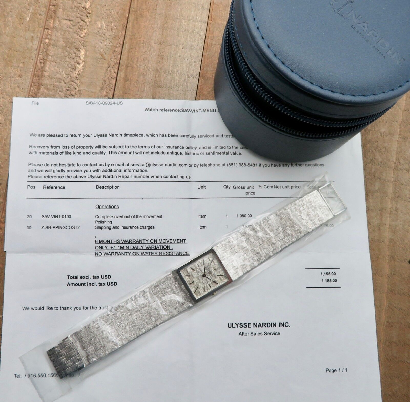 Vintage 18K Gold ULYSSE NARDIN Manual Wind Wristwatch Ref.601 $1155 Service Done - watch picture 1