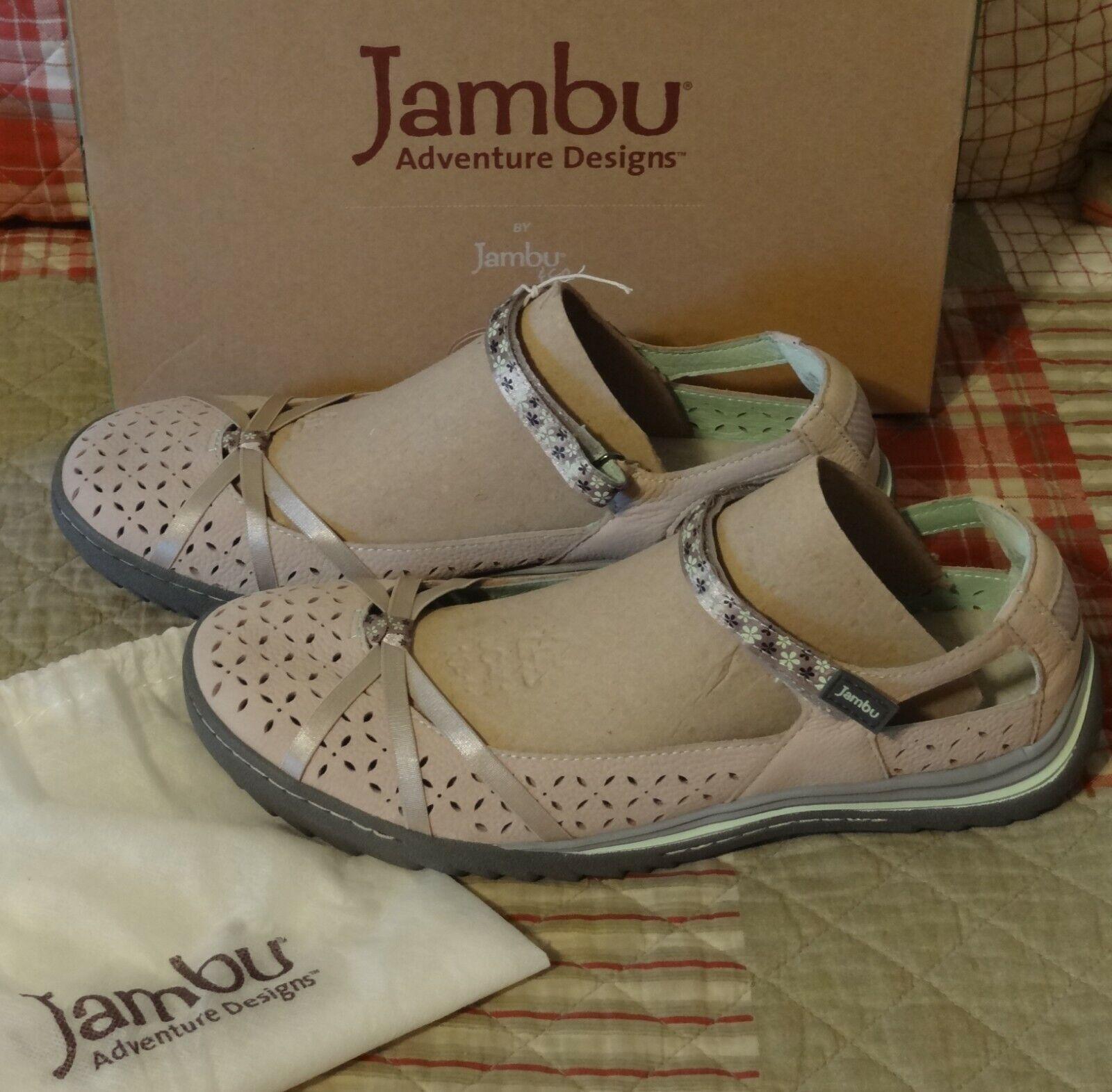 "Cute! NEW Jambu ""CHERRY BLOSSOM"" Mary Jane Light Grey Pastel"