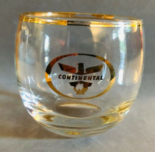 "Continental Airlines Rocks Glass - 3"" x 3"" - Golden Eagle Logo"