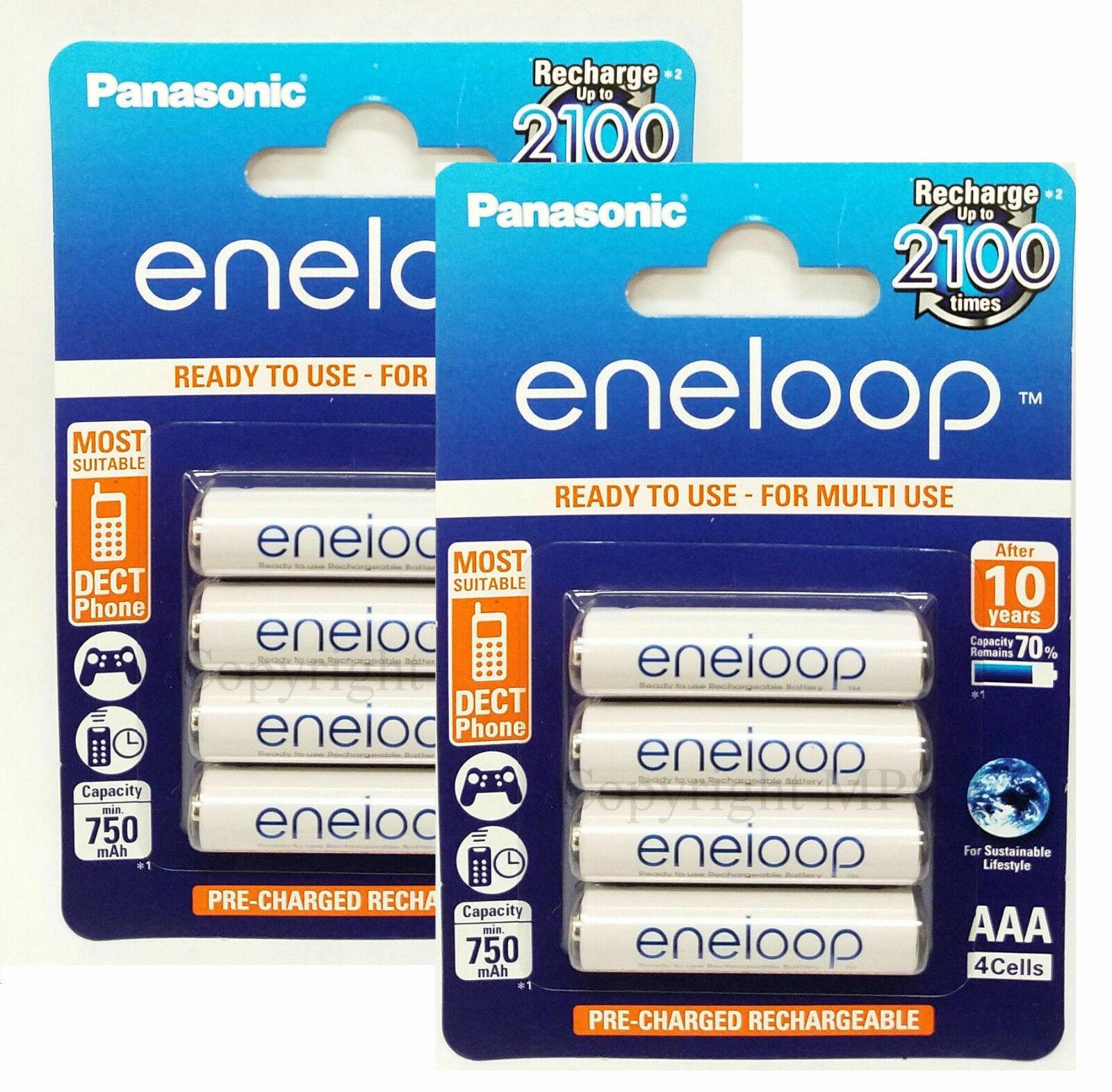 8x Panasonic eneloop AAA Batteries NiMH 800mAh  BK-4MCCE