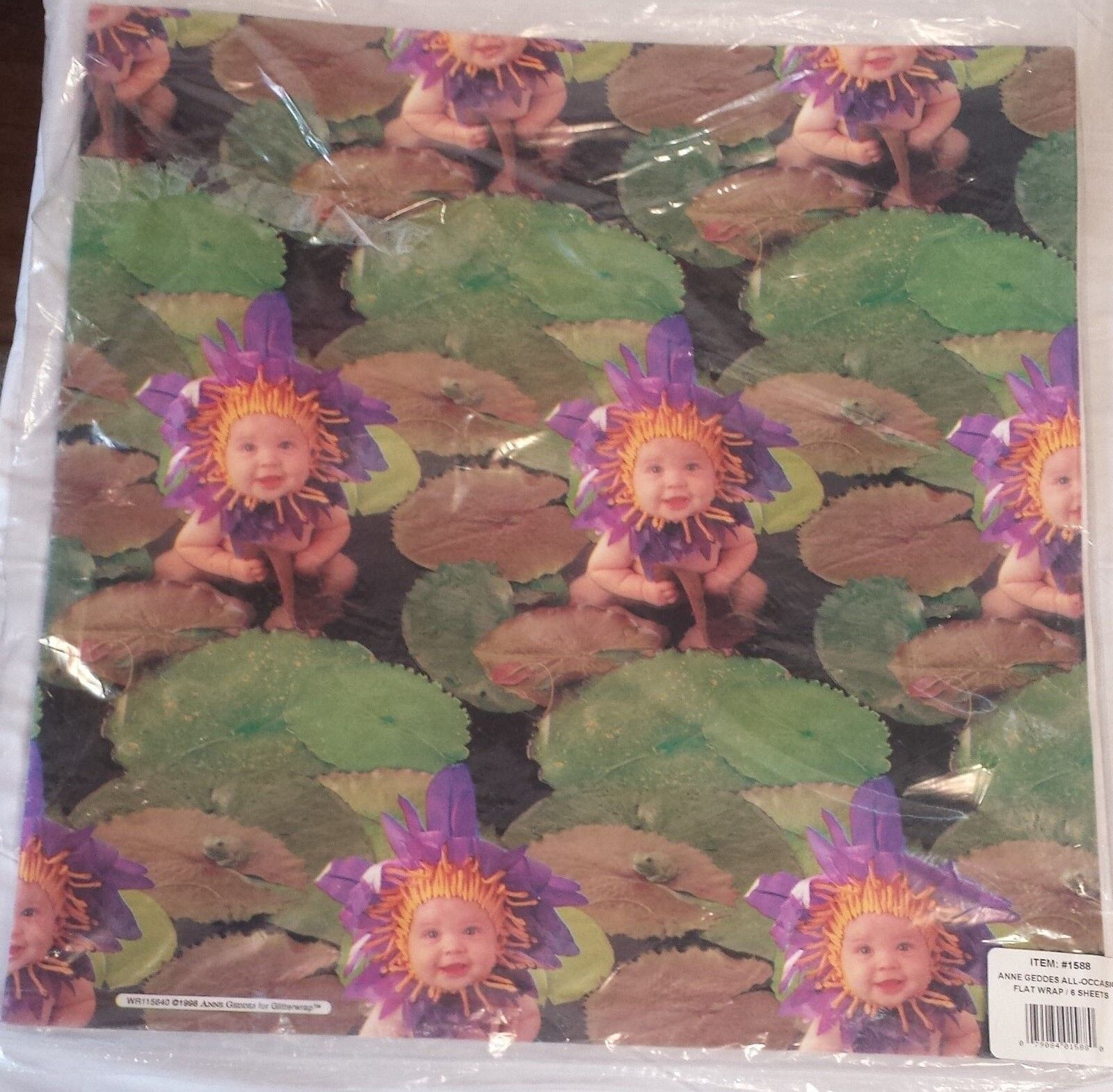 Anne Geddes '98 Waterlily Baby Print Oversize Gift Wrap Pape