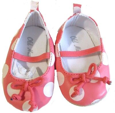 (New Old Navy Dress Shoes Coral White Crib Girls Baby 12-18 Months Ankle Strap)