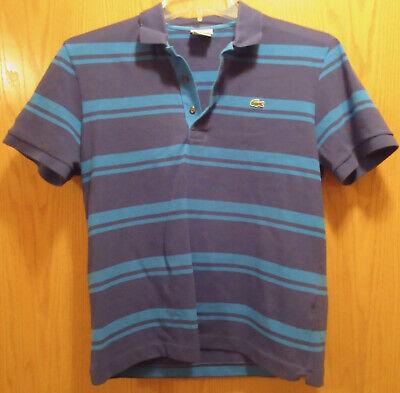 Lacoste Mens Blue Pique Polo Shirt Blue Striped Size 5 Large EUC
