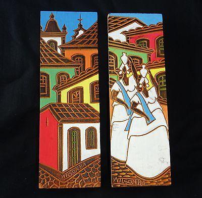 2x Vintage Brazilian Folk Paintings on Wooden Blocks by Wilson BA (Gem)