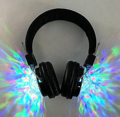 Wireless MP3 Player LED Crystal RGB LIGHTED Stereo Headphones Earphones Headset