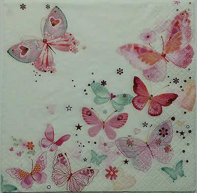 BUTTERFLIES PINK 2 individual LUNCH SIZE paper napkins for decoupage 3-ply