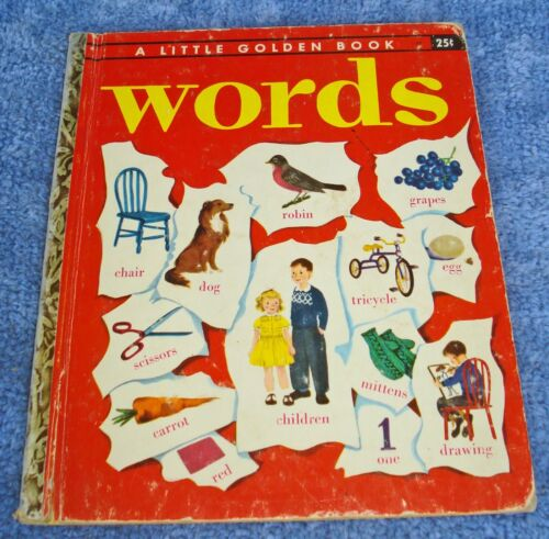 """1948 LITTLE GOLDEN BOOK 25c. """"P"""" (1959 BACK) - WORDS -NO MARKS IN BOOK-GOOD COND"""