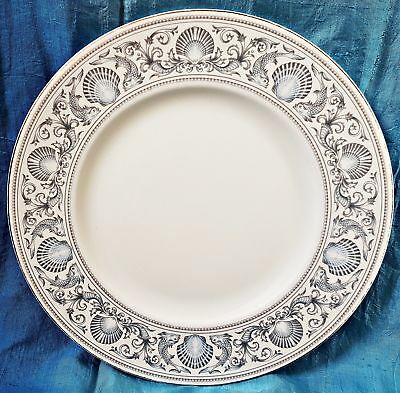 "1 x Wedgwood Platignum Rim White Dolphins 10.75"" Dinner Plate R4652"