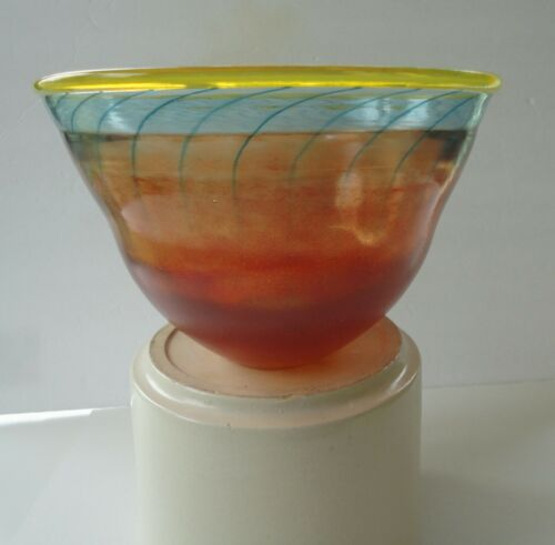"Memphis Era Modern Kosta Boda Sweden Art Glass Engman Bonbon 59062 11"" Bowl"