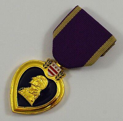 (24ct Gold Plated Replica Purple Heart Military Merit Service Medal. USA/WW1/WW2)
