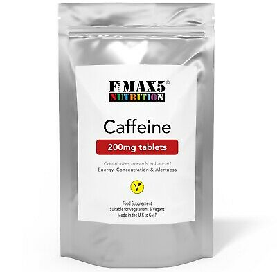 100 x Caffeine 200mg Tablets - 100% Pure Pharmaceutical Grade Plus Energy Pills
