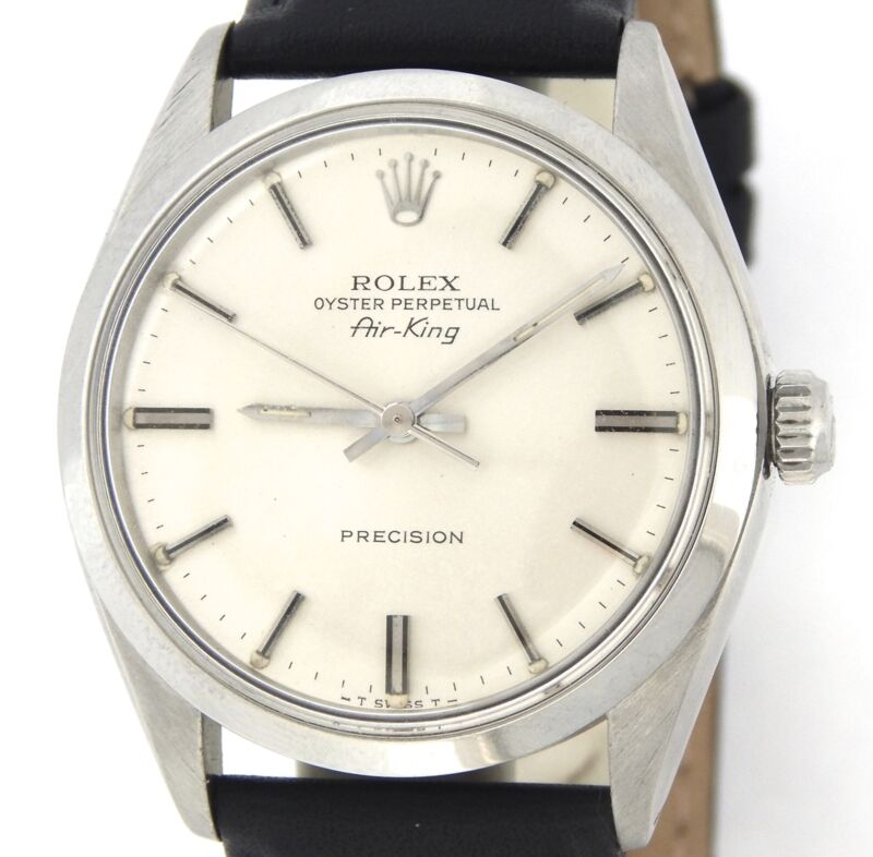 Rolex Air King Mens Stainless Steel Watch Silver Dial Vintage Model  Ref # 5500