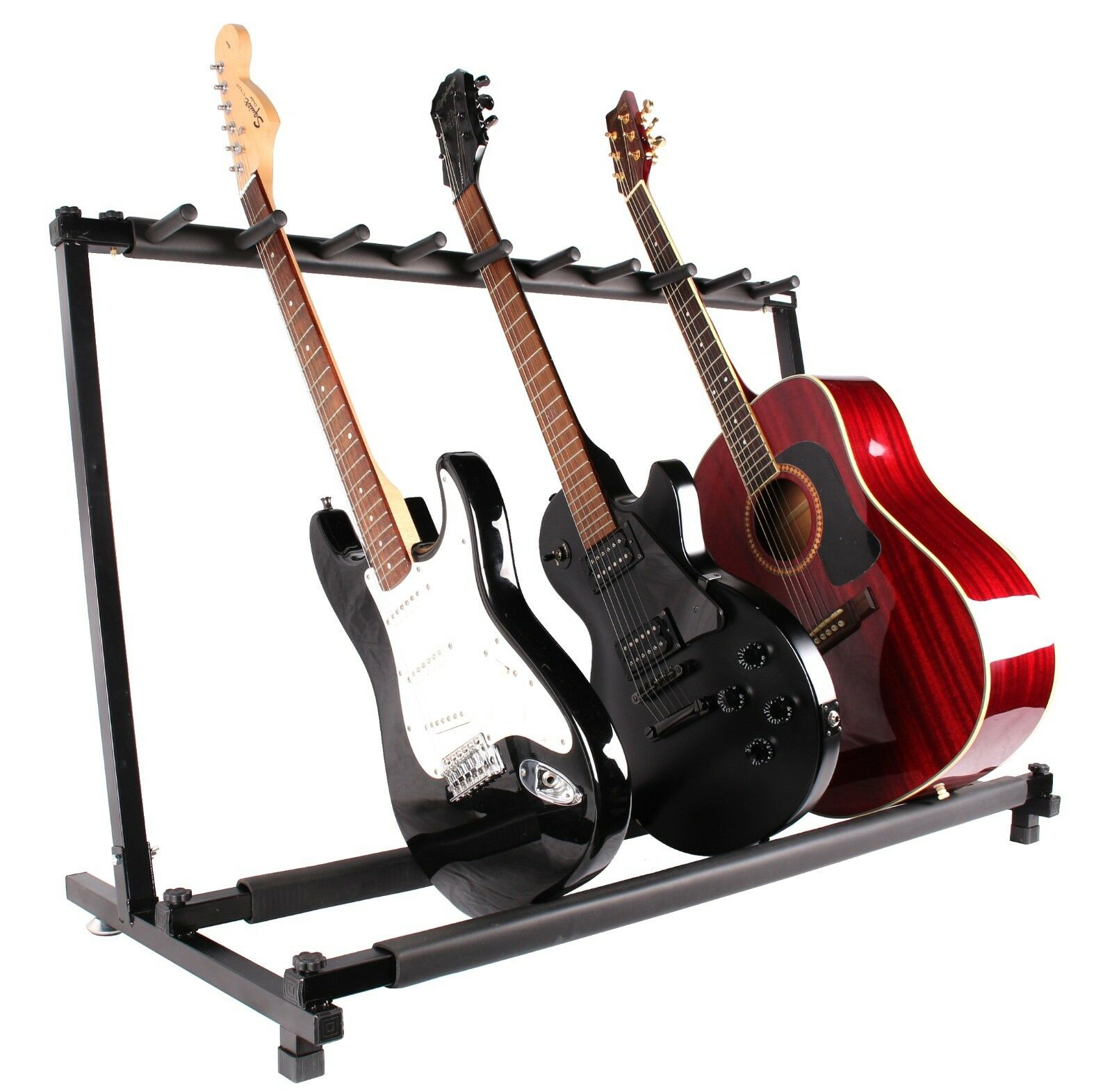 guitar stand 9 holder guitar folding stand rack band stage bass acoustic guitar ebay. Black Bedroom Furniture Sets. Home Design Ideas