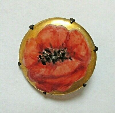 Antique Hatpin Hand-Painted Red Poppy Porcelain Disc