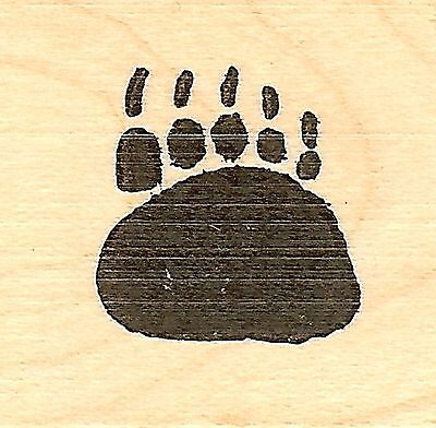 Bear Paw Print, Wood Mounted Rubber Stamp NORTHWOODS - NEW, - Paw Print Stamp