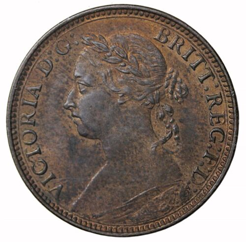 1881-H Great Britain Farthing 3 Berries Queen Victoria Coin KM#753