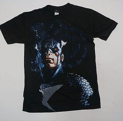 Captain America C (Marvel Avengers Captain America portrait shirt NEW Small Medium XL Black  )