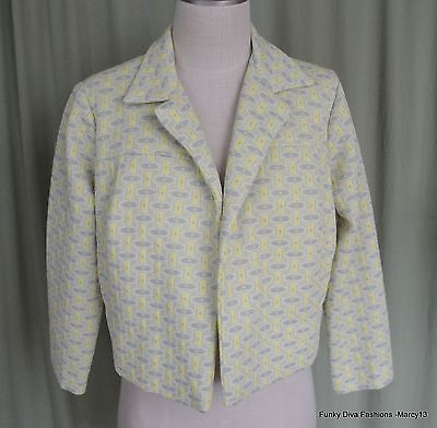 """Funky Vintage 60's 70's Mod Gray & Yellow Geometric Cropped Jacket Bust 40"""""""