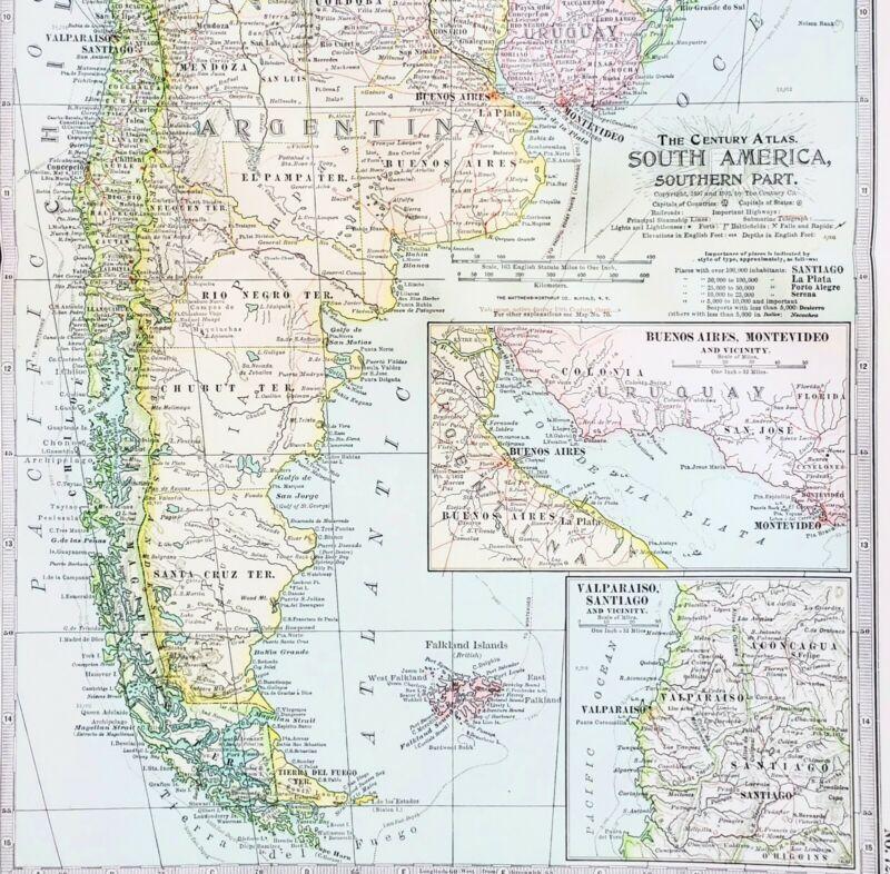 1906 Argentine Republic Map South America Buenos Aires Falkland Islands ORIGINAL