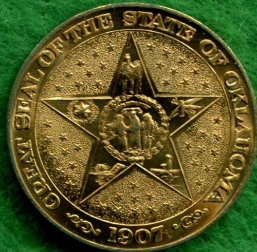 OKLAHOMA 50th ANNIVERSARY BRASS MEDAL ~ THE 46th STATE 1907-1957 ~ UNCIRCULATED