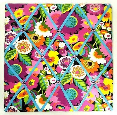 VERA BRADLEY Ribbon Memo Board VaVa BLOOM Pink Blue Floral Fabric Photo - Ribbon Bulletin Board