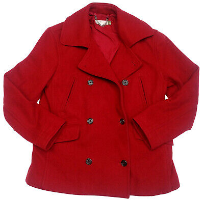 J Crew Womens Maroon Red Wool Blend Jacket Peacoat Coat Double Breasted Size XS