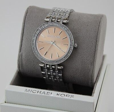 NEW AUTHENTIC MICHAEL KORS DARCI SILVER BROWN CRYSTALS WOMEN'S MK3218 WATCH