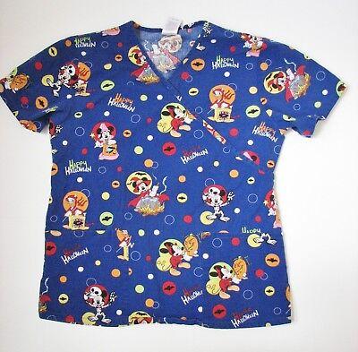 Disney Halloween Mickey Minnie Mouse Short Sleeve Scrub Shirt S Nurse - Disney Halloween Scrubs