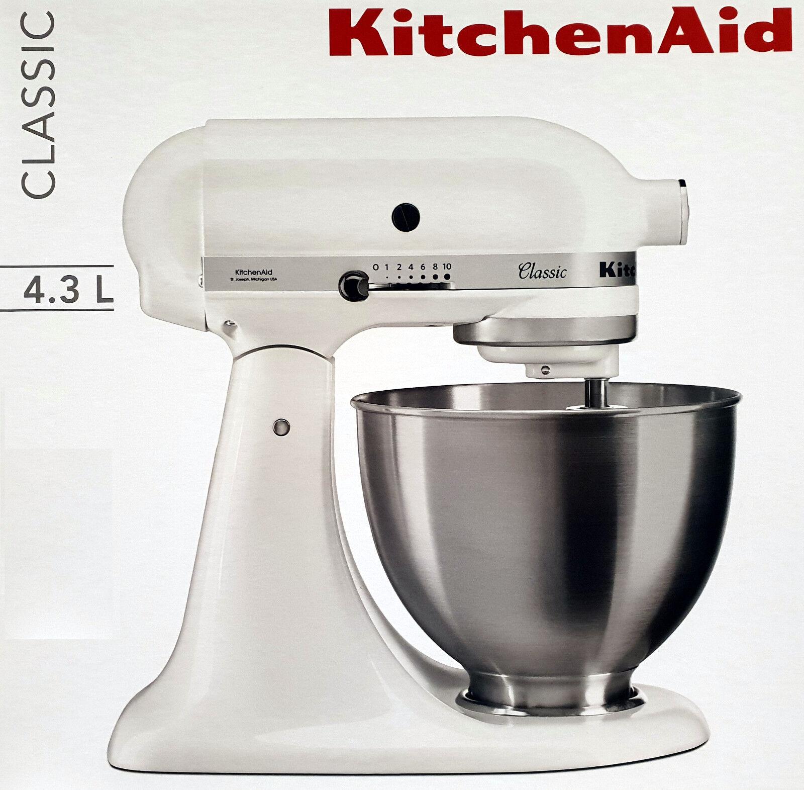 KitchenAid Küchenmaschine,Teig-Knetmaschine Classic 5K45SSEWH 4,3L, 275 W, Weiß