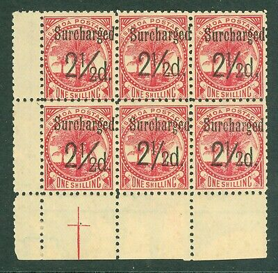 SG 86 Samoa 2½d on 1/-. A fine fresh very lightly mounted mint block of 6 CAT£76