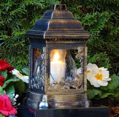 Grablampe Grablaterne Grableuchte Bronze Grabschmuck Rosen inkl.Grablicht Kerze