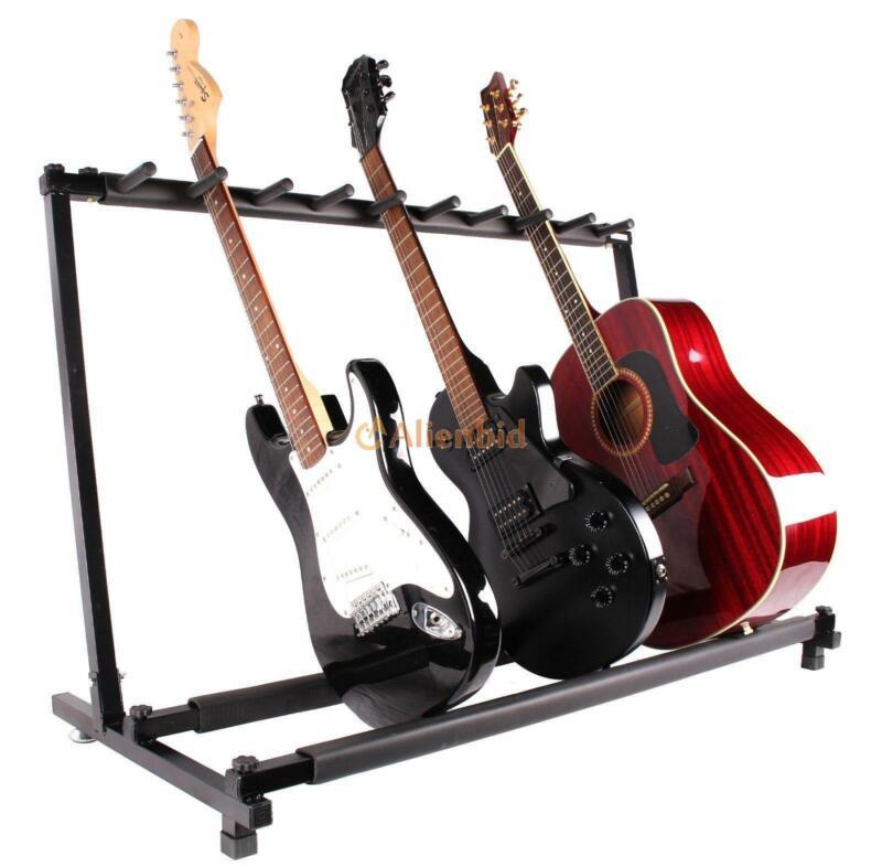 New 9 Folding Multiple Guitar Bass Holder Rack Display Stand Black