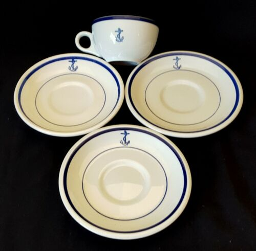 US Navy Fouled Anchor 1 Cup & 3 Saucers