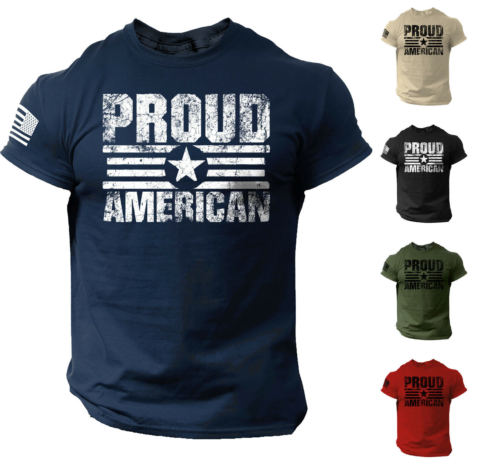 Proud American USA Flag Distressed Men T Shirt Patriotic Cotton Tee Clothing, Shoes & Accessories