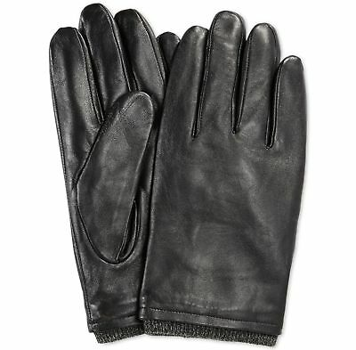 $162 RYAN SEACREST Mens Leather Gloves Black TOUCH SCREEN ATHLETIC WINTER Size L