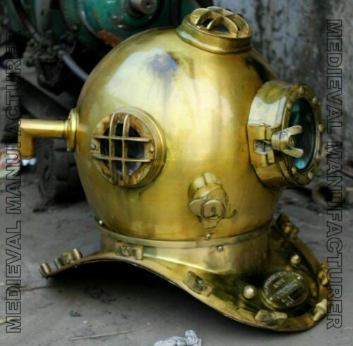 Vintage 18 Inch US Navy Diving Helmet Mark V Deep Sea Divers Helmet