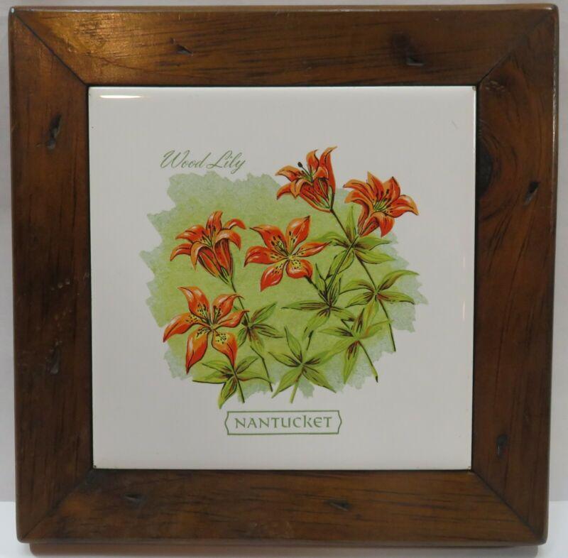 Vintage Nantucket Orange Wood Lily Tile in Pine Frame Trivet Wall Hanging