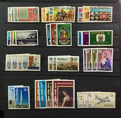 RHODESIA - SMALL COLLECTION OF 44 MINT NEVER HINGED STAMPS (BETWEEN 1966-1978)