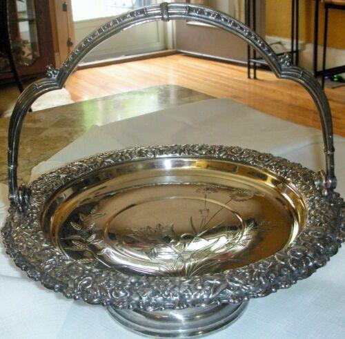 Antique Rose Ornate Meridian B. Quadruple Silver Plate Brides Basket Marked 1908