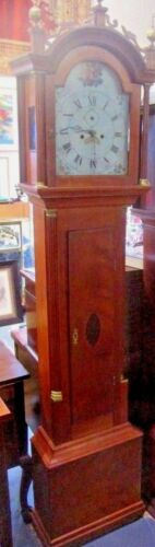 "ANTIQUE MASS. AMERICAN TALL CASE GRANDFATHER 91"" CLOCK CIRCA 1800 JAMES DOULL"