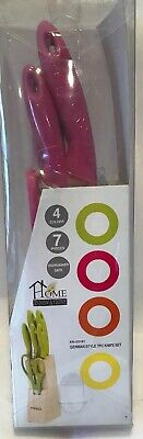 Home Innovations 7pc Knife Set PINK handles France' Stainless Steel