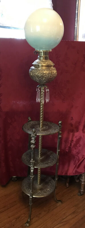 Antique Victorian Piano Lamp Brass 3 Shelves Prisms Paw Feet LOCAL PICKUP ONLY