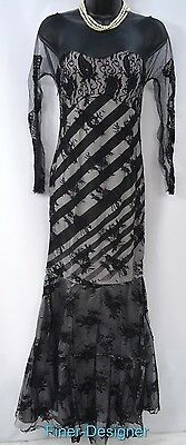 ROPALIA Dress Formal Evening Gown Prom Pageant mesh illusion lace Mermaid M NWT